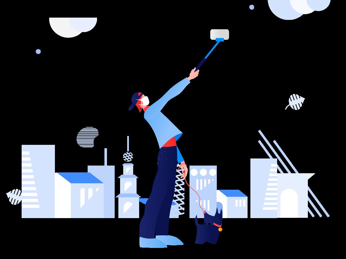 Selfie in deserted city Clipart illustration in PNG, SVG