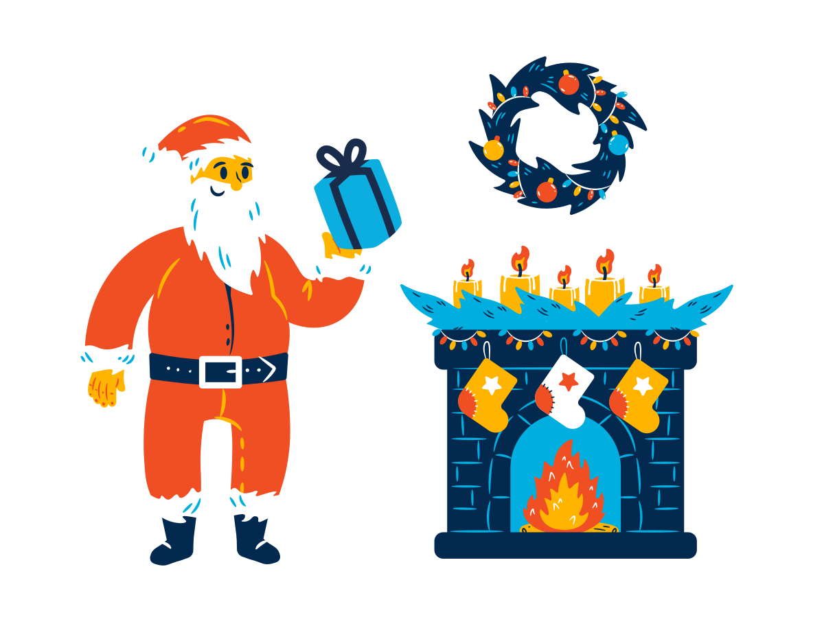 Santa is here Clipart illustration in PNG, SVG