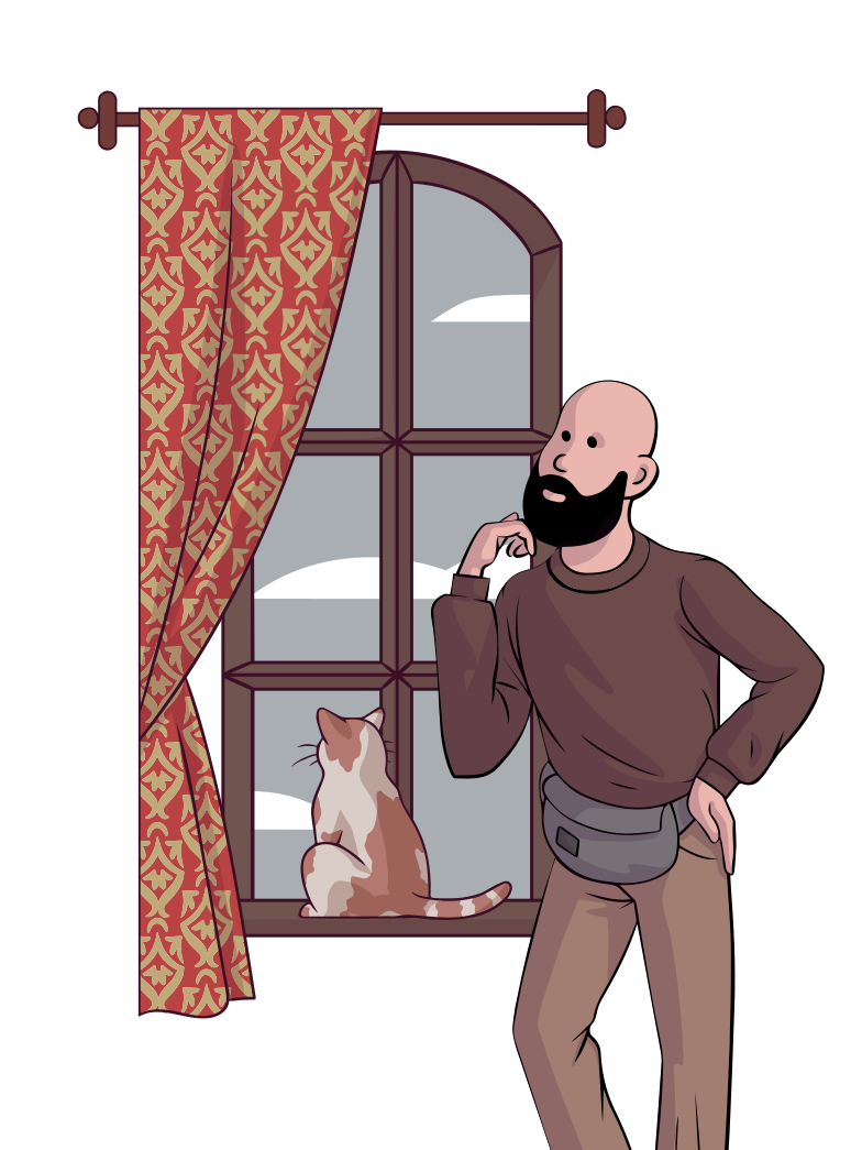 Guy and his cat looking through the window Clipart illustration in PNG, SVG