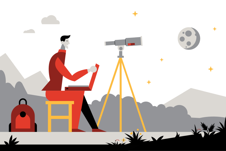 Exploring the moon Clipart illustration in PNG, SVG