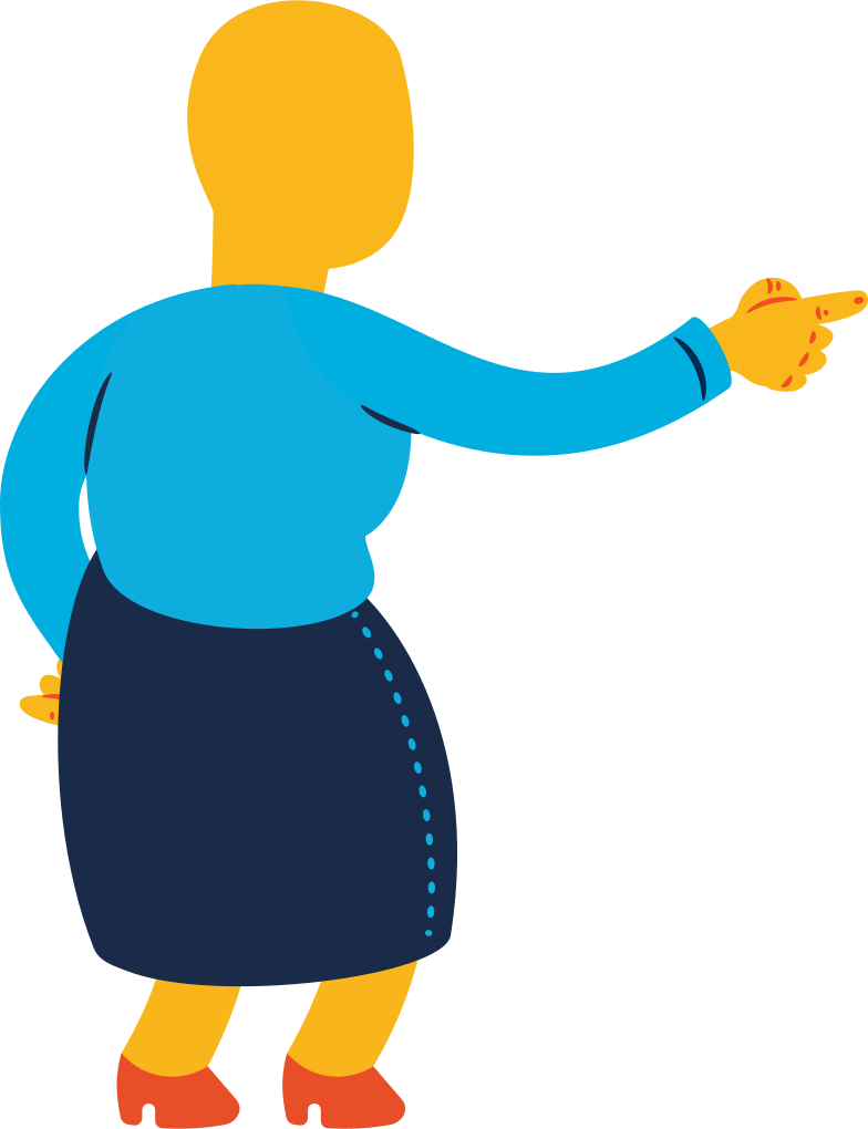 old woman pointing back Clipart illustration in PNG, SVG