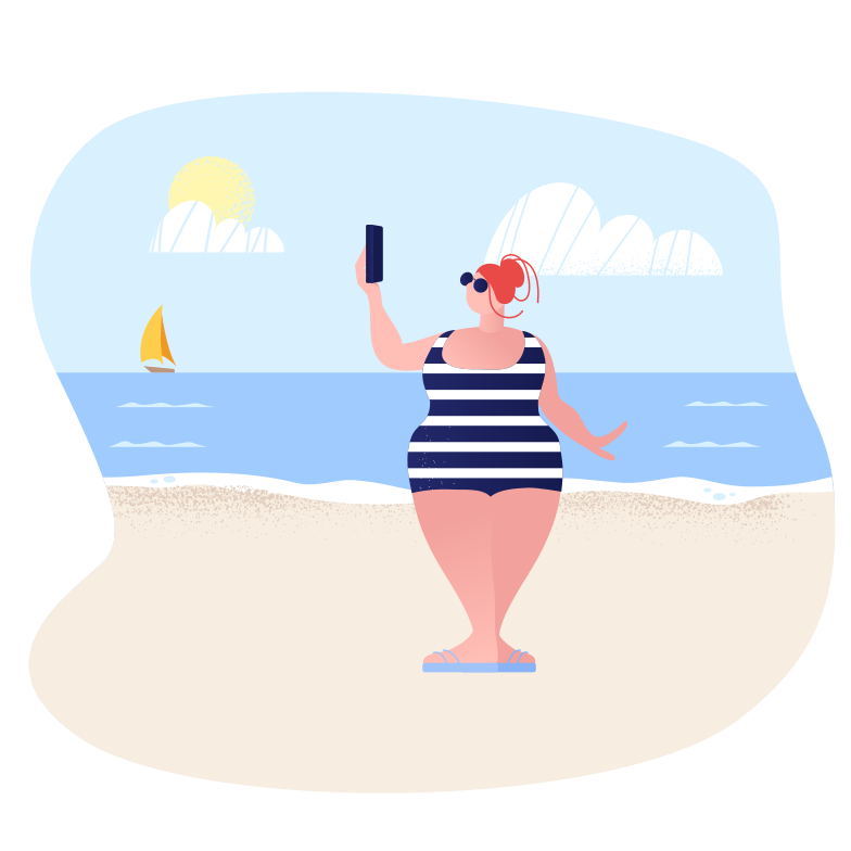 Sunbathing with the phone Clipart illustration in PNG, SVG