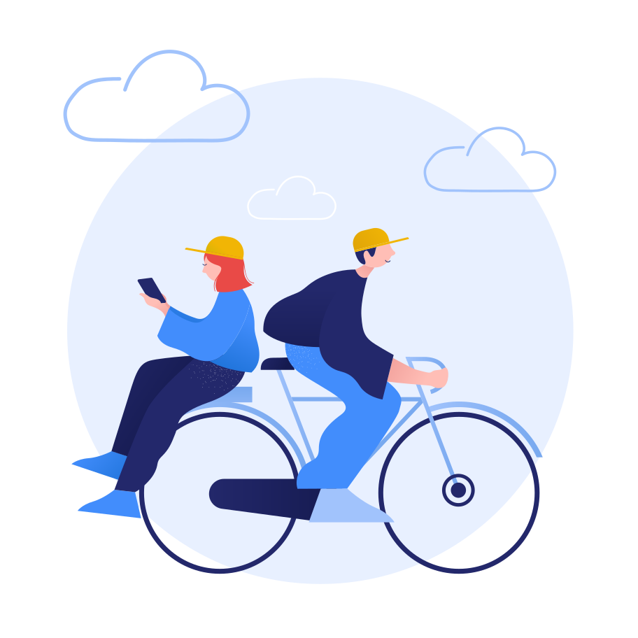 Bicycle ride together Clipart illustration in PNG, SVG