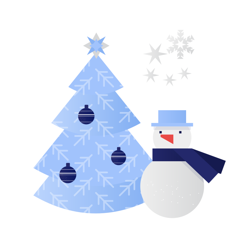 Snowmen and Christmas tree Clipart illustration in PNG, SVG