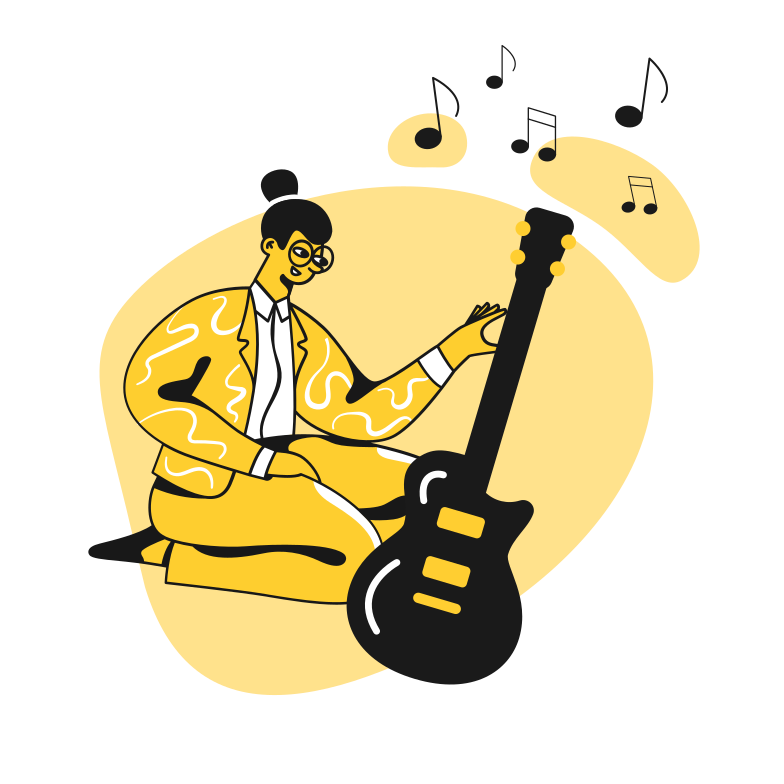 mädchen lernen, gitarre zu spielen Clipart-Grafik als PNG, SVG