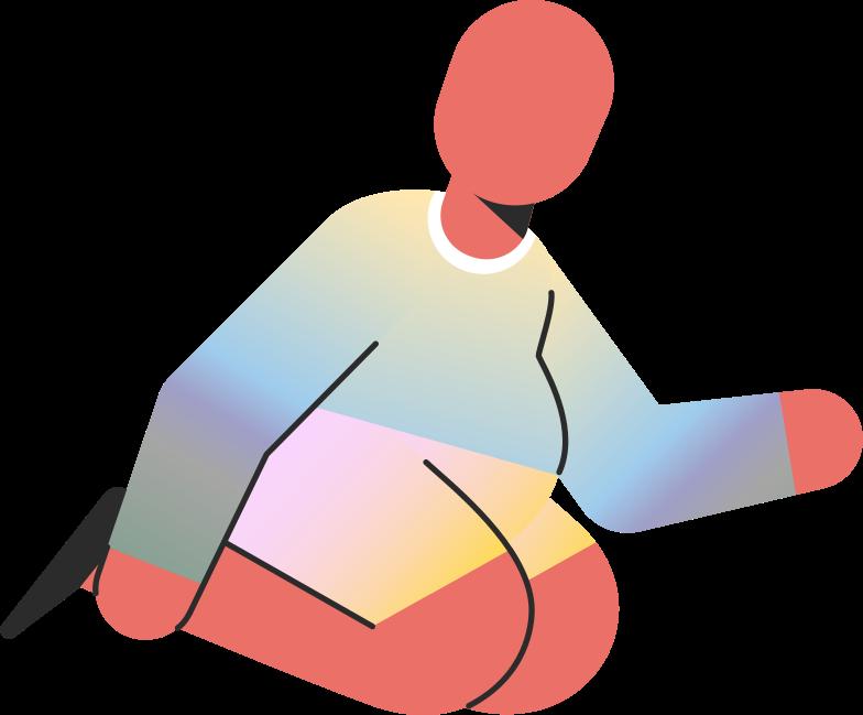 Ilustración de clipart de Niño gordito sentado en las rodillas en PNG, SVG