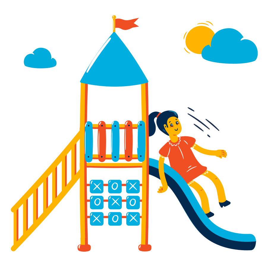 Girl on the playground Clipart illustration in PNG, SVG