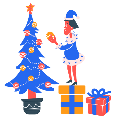 style Boy decorates Christmas tree images in PNG and SVG | Icons8 Illustrations
