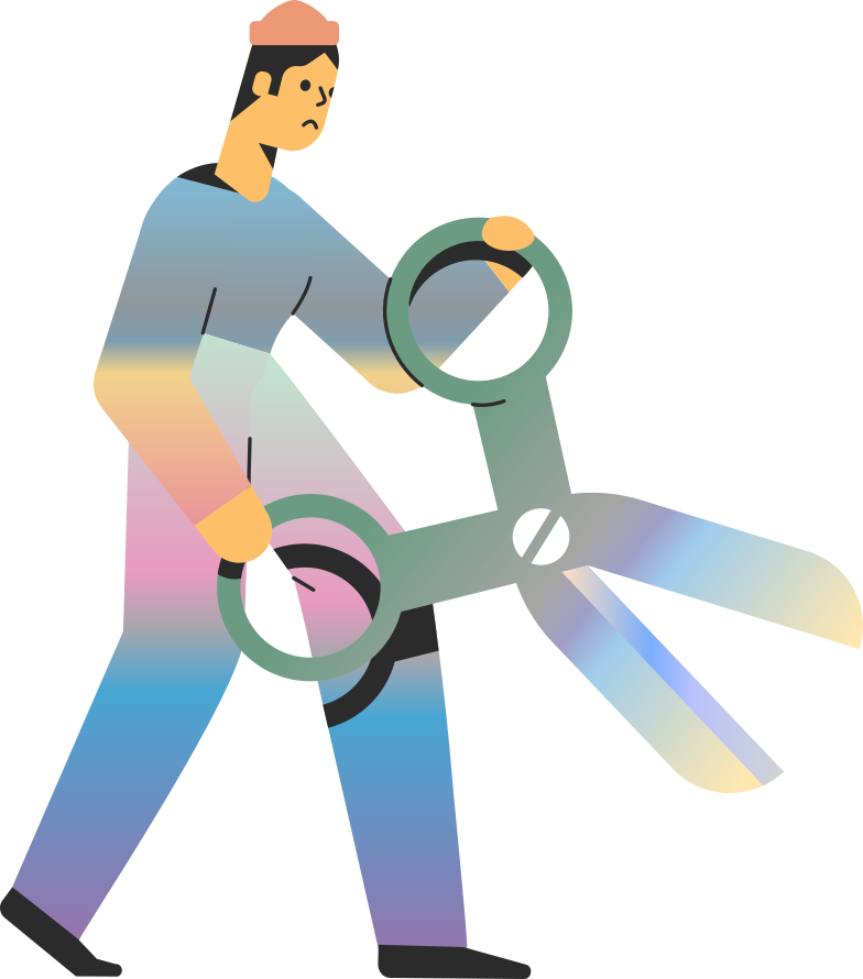 no connection  man with scissors Clipart illustration in PNG, SVG