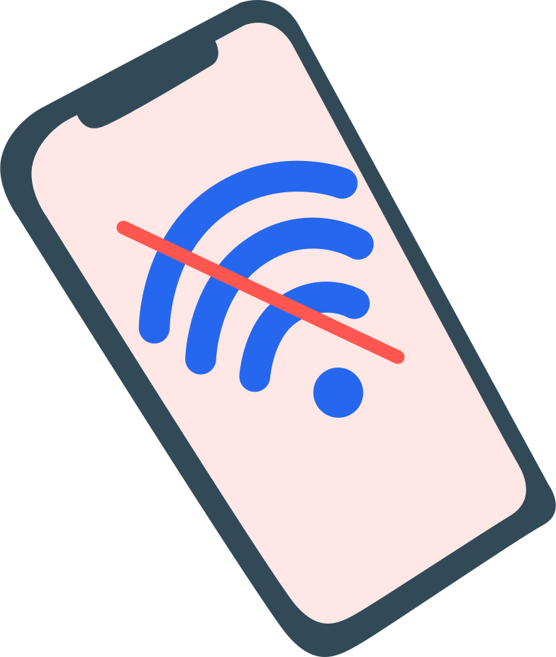 style phone with no wi-fi sign Vector images in PNG and SVG | Icons8 Illustrations
