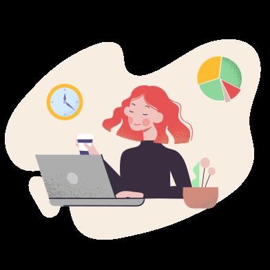 Иллюстрация женщина работает с компьютером в стиле  в PNG и SVG | Icons8 Иллюстрации