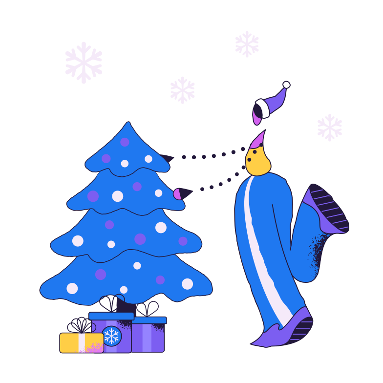 Decorating Christmas tree Clipart illustration in PNG, SVG