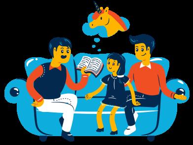 Imágenes de Lectura en familia estilo  en PNG y SVG | Ilustraciones Icons8
