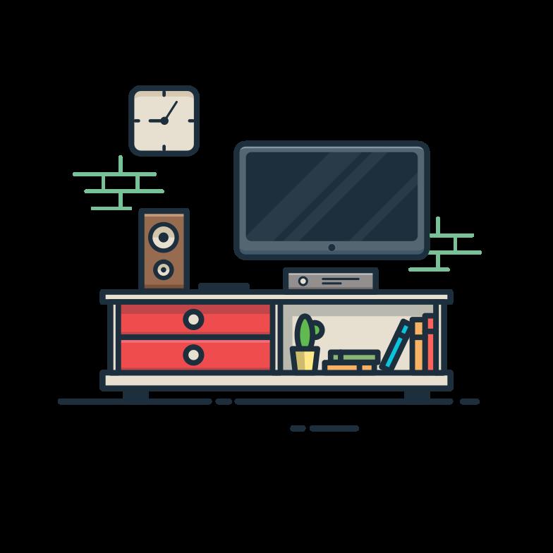 TV room Clipart illustration in PNG, SVG