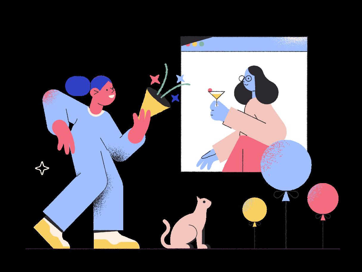 Festa online Clipart illustration in PNG, SVG