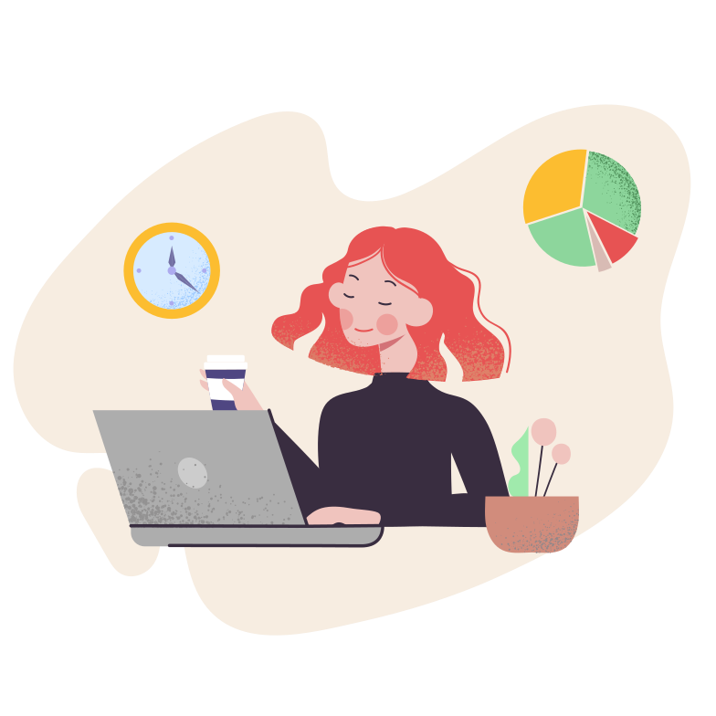Woman works with computer Clipart illustration in PNG, SVG