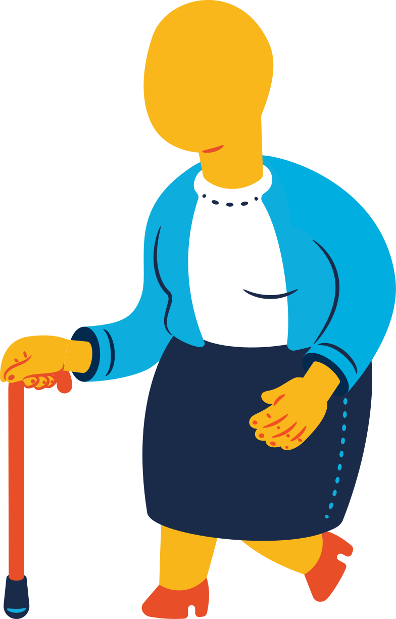chubby old woman walking Clipart illustration in PNG, SVG