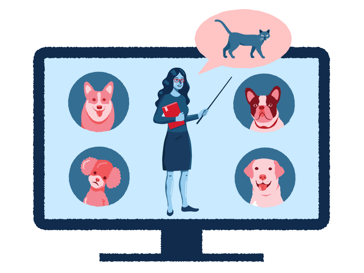 Remote education for dogs Clipart illustration in PNG, SVG
