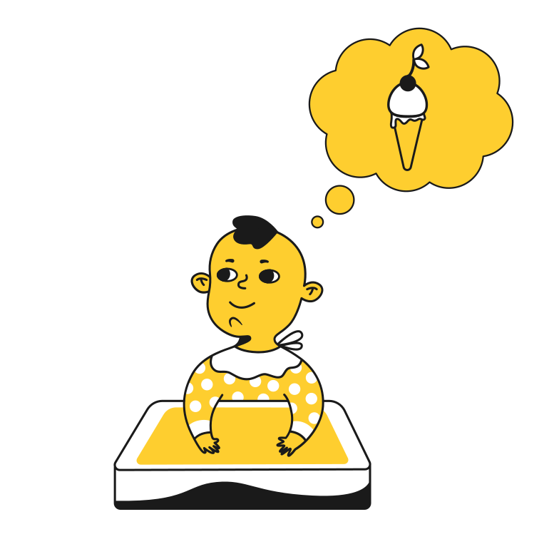 style Baby thinks about ice cream Vector images in PNG and SVG | Icons8 Illustrations