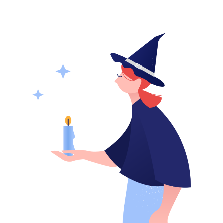 Witch with candle Clipart illustration in PNG, SVG