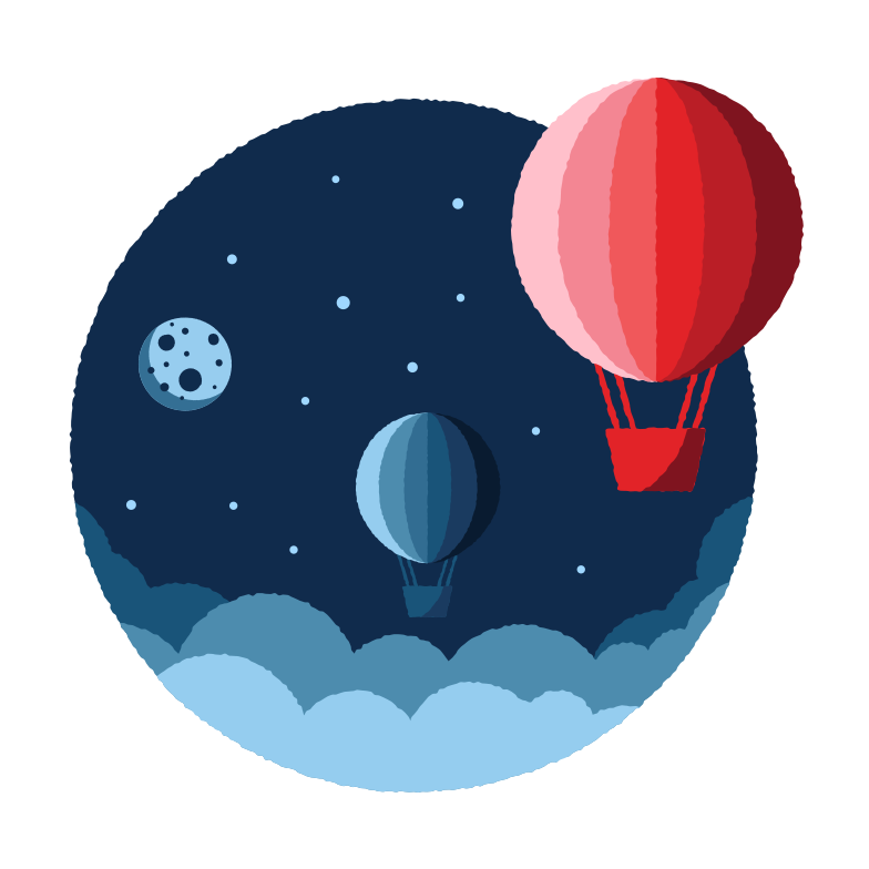 Space hot air balloons Clipart illustration in PNG, SVG