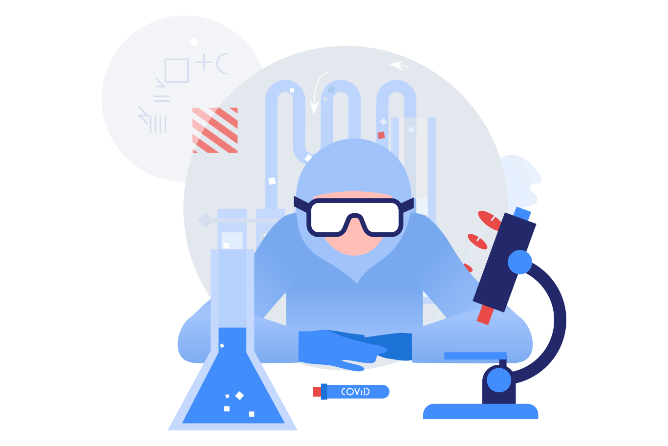 Scientist developing vaccine Clipart illustration in PNG, SVG