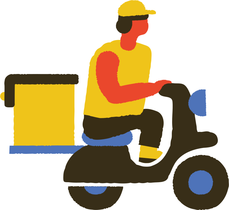 food delivery man on scooter Clipart illustration in PNG, SVG