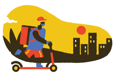 style Delivery guy in a hurry images in PNG and SVG | Icons8 Illustrations