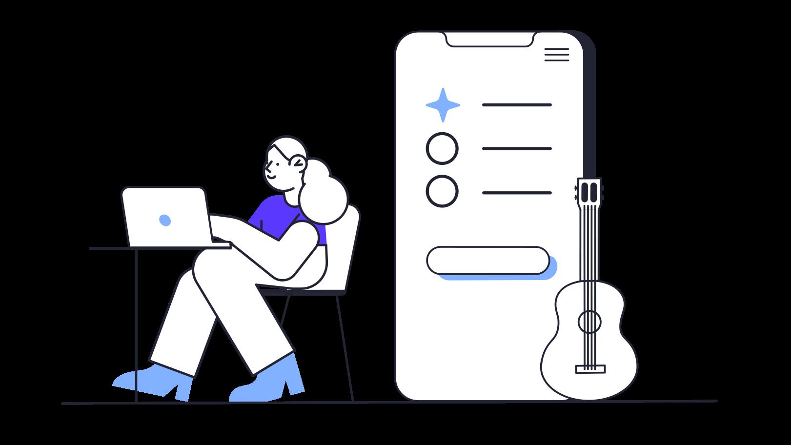 Ilustración de clipart de Compra online de instrumentos musicales en PNG, SVG