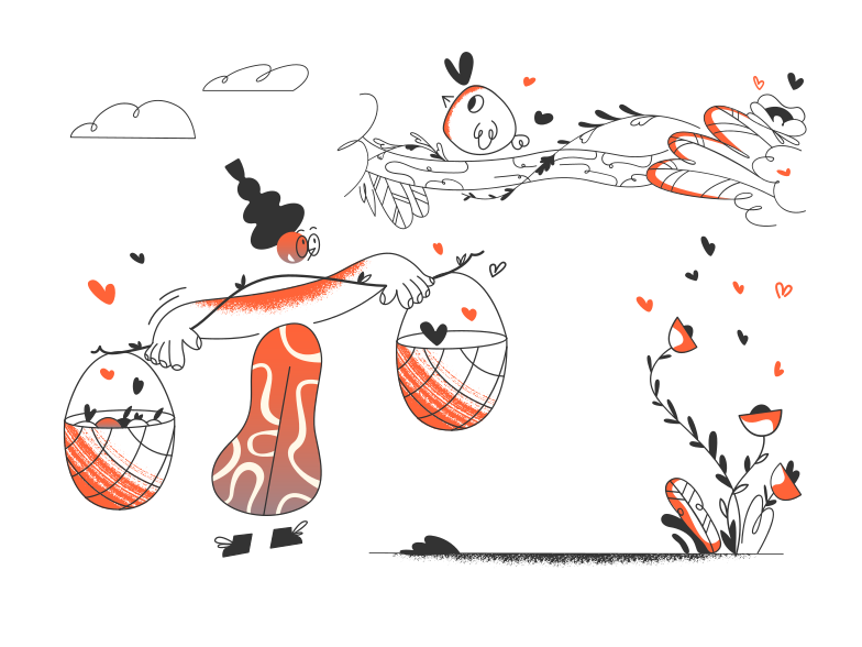 Picking mushrooms Clipart illustration in PNG, SVG