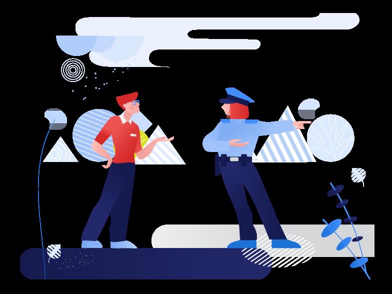 警察との会話 のPNG、SVGクリップアートイラスト