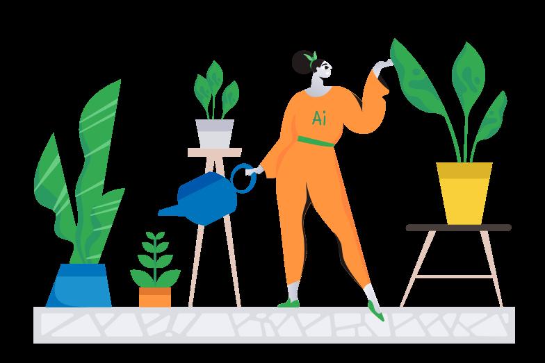 AI gardener Clipart illustration in PNG, SVG
