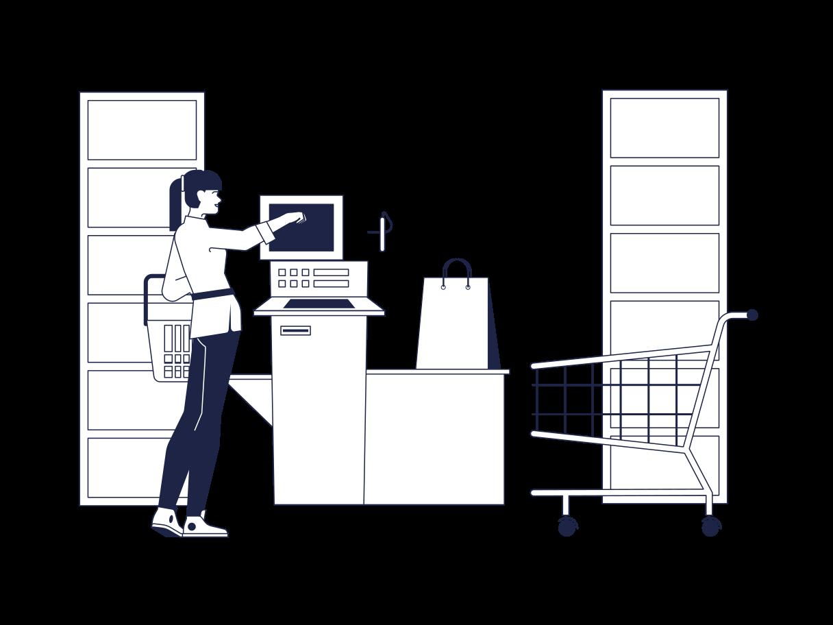 Supermarket Self Service Clipart illustration in PNG, SVG