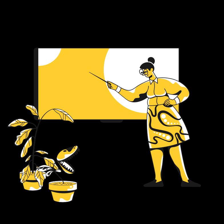 School teacher near the blackboard Clipart illustration in PNG, SVG