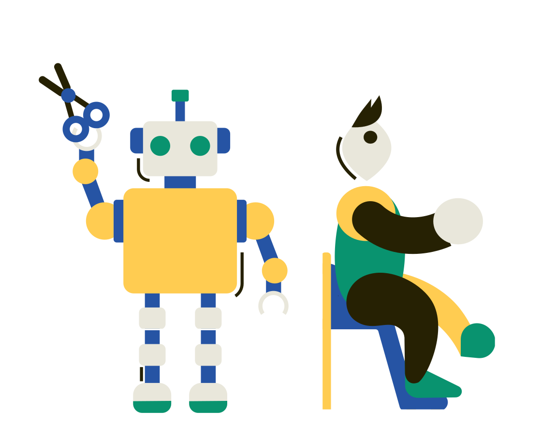 Robot barber Clipart illustration in PNG, SVG