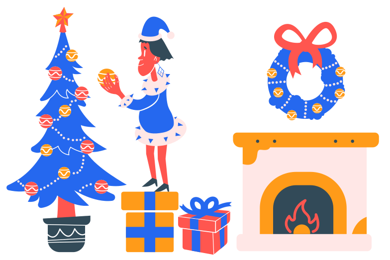 Boy decorates Christmas tree Clipart illustration in PNG, SVG