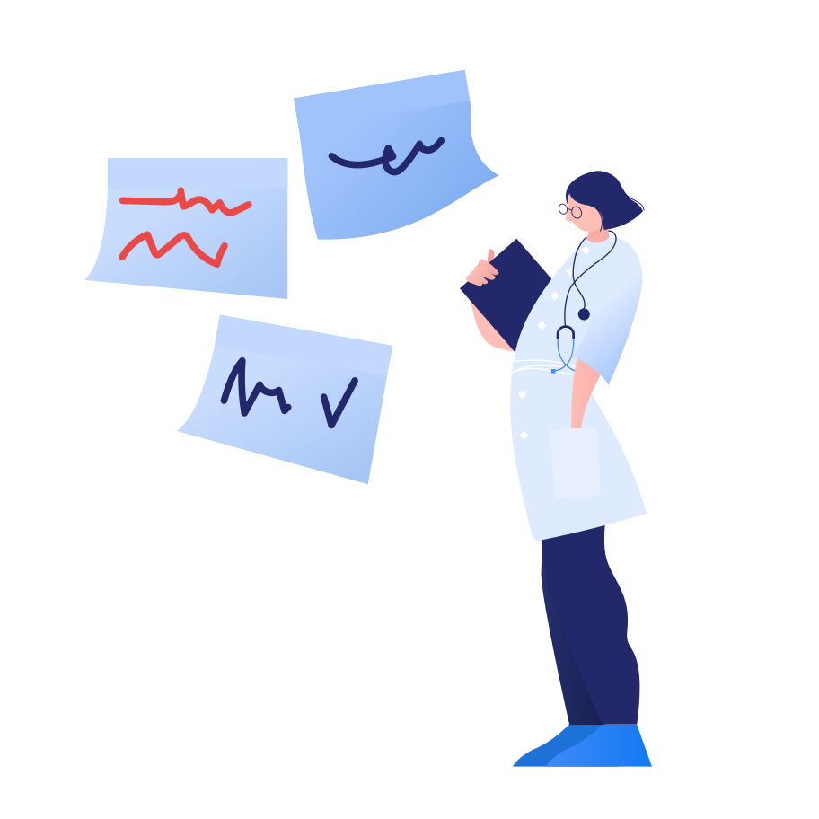 Doctor looks at E.E.G Clipart illustration in PNG, SVG