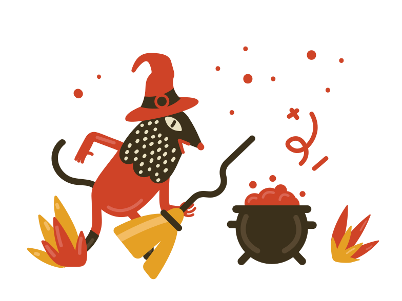 Witch with broomstick Clipart illustration in PNG, SVG