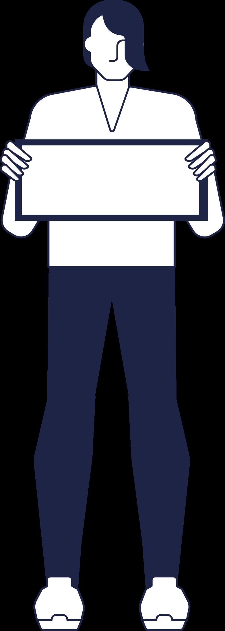 man holding sign line Clipart illustration in PNG, SVG