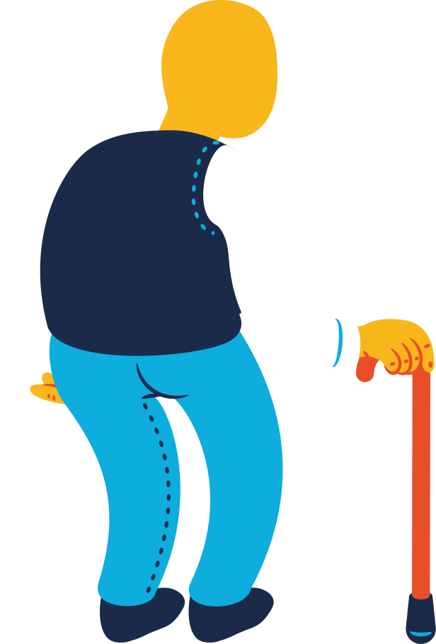 chubby old man standing back Clipart illustration in PNG, SVG