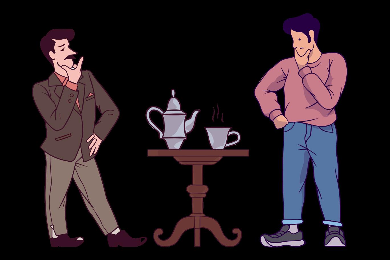 Sceptical tea break Clipart illustration in PNG, SVG