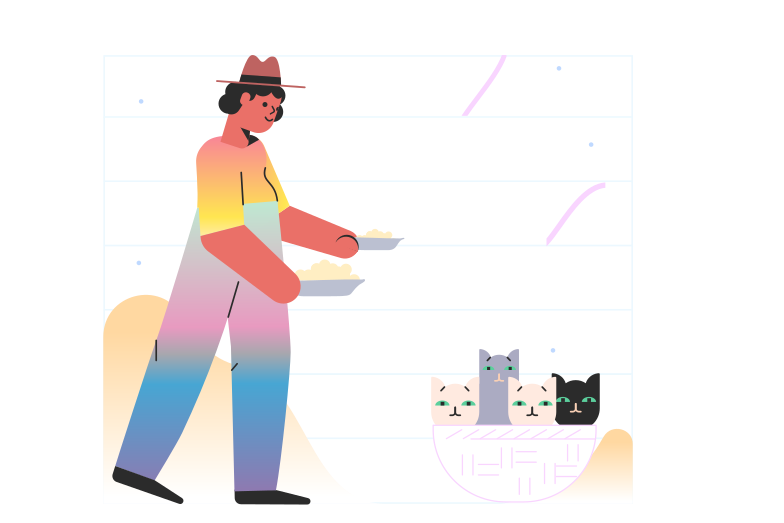 Feeding cats Clipart illustration in PNG, SVG