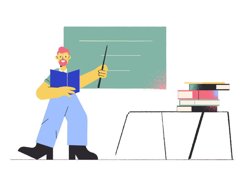School teacher in the classroom Clipart illustration in PNG, SVG