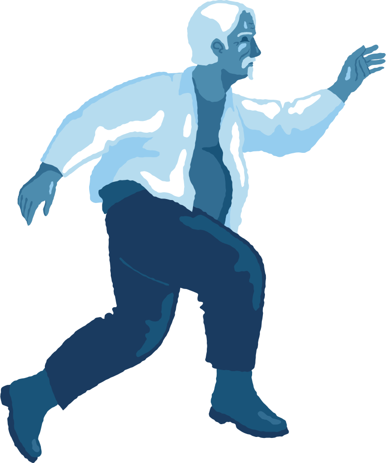 old chubby man jumping profile Clipart illustration in PNG, SVG
