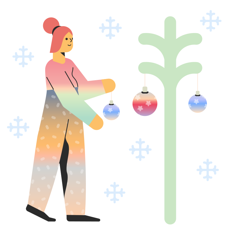 style Woman decorates Christmas tree Vector images in PNG and SVG | Icons8 Illustrations