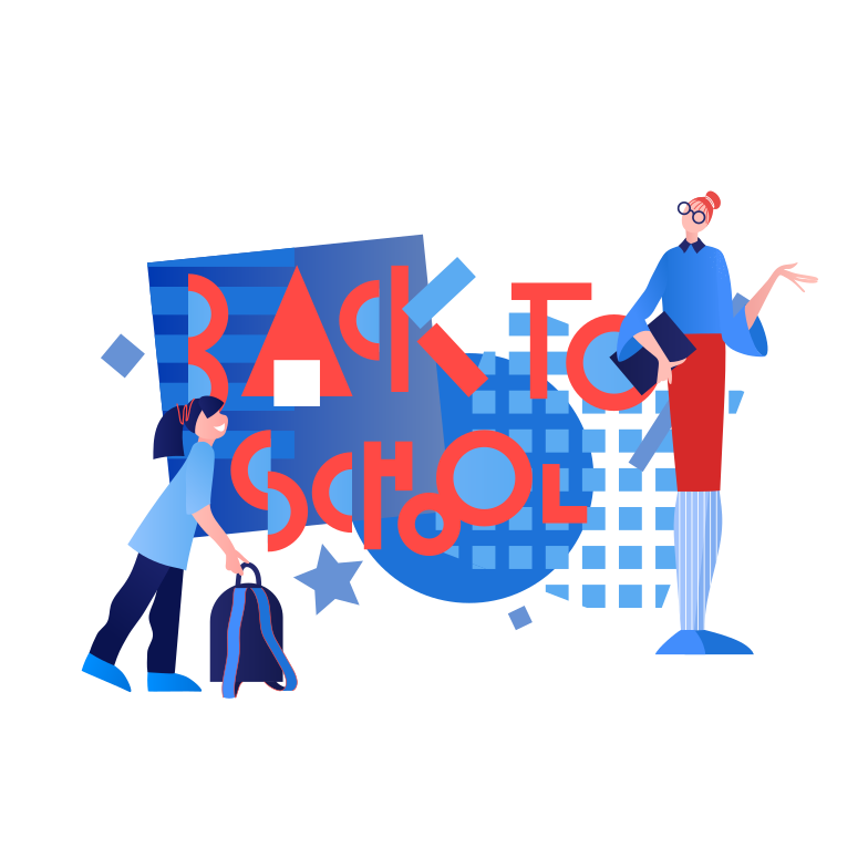Teacher and student are back to school Clipart illustration in PNG, SVG