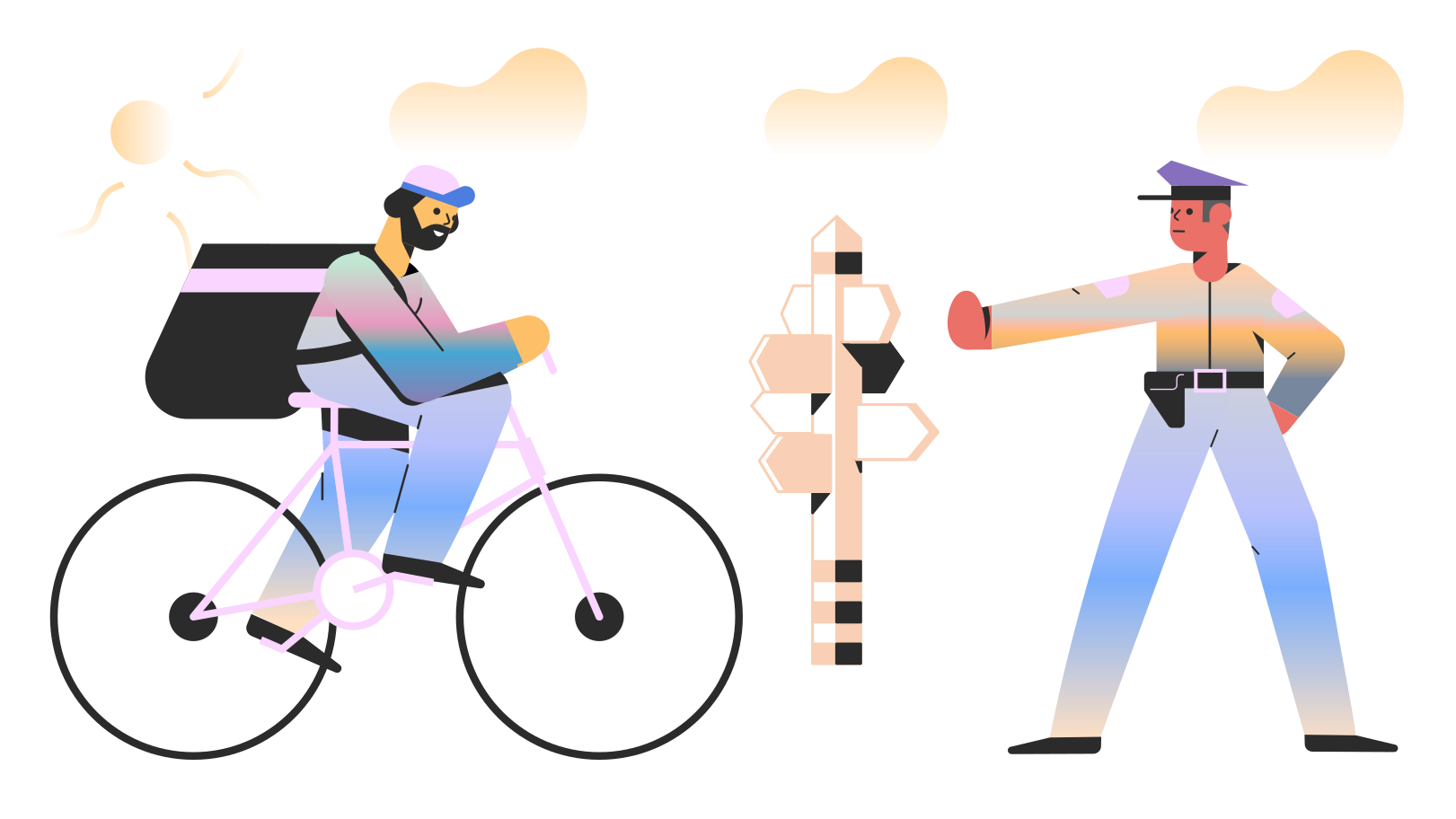 Police officer stops bicycle Clipart illustration in PNG, SVG