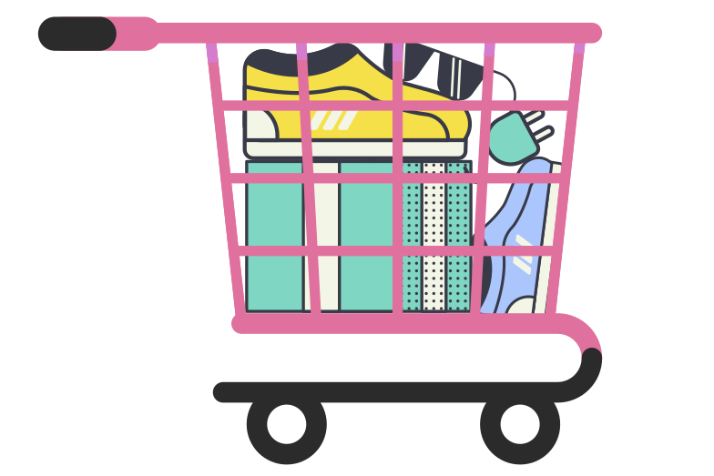 style Shopping cart full of goods Vector images in PNG and SVG | Icons8 Illustrations