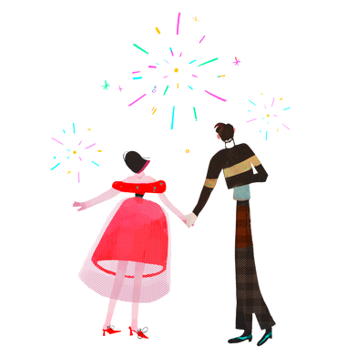 style Couple regardant des feux d'artifice images in PNG and SVG | Icons8 Illustrations