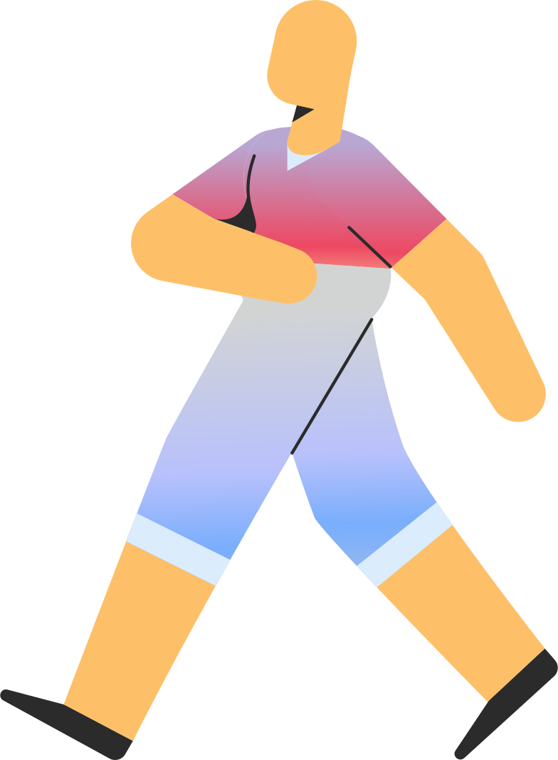 adult in shorts walking Clipart illustration in PNG, SVG